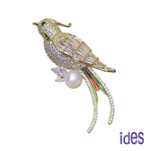 ides愛蒂思 日本設計天然淡水珍珠胸針/富貴鳥