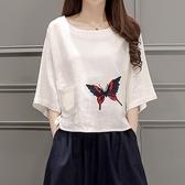 2019夏裝新款棉麻女裝短袖T恤寬鬆顯瘦復古文藝刺繡亞麻白色上衣