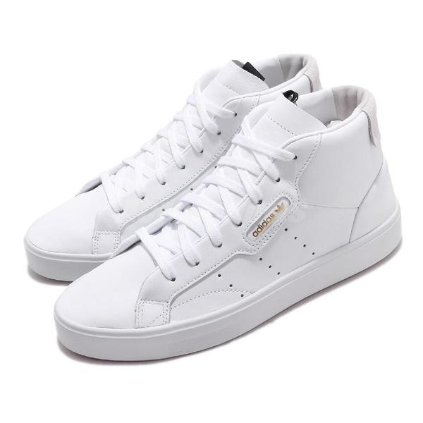【海外限定】adidas 休閒鞋 Sleek Mid W 白 金 女鞋 中筒 皮革 小白鞋 【ACS】 EE4726