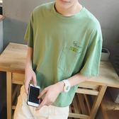 新款男士短袖t恤港風文藝潮流個性韓版圓領學生寬鬆休閒上衣   檸檬衣舍
