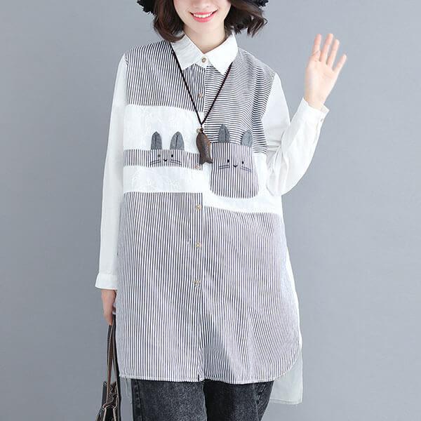 蕾絲拼接可愛兔子造型長版襯衫-中大尺碼 獨具衣格