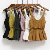 針織背心女外穿短款百搭無袖上衣秋冬學生小馬甲毛線外搭吊帶毛衣 免運