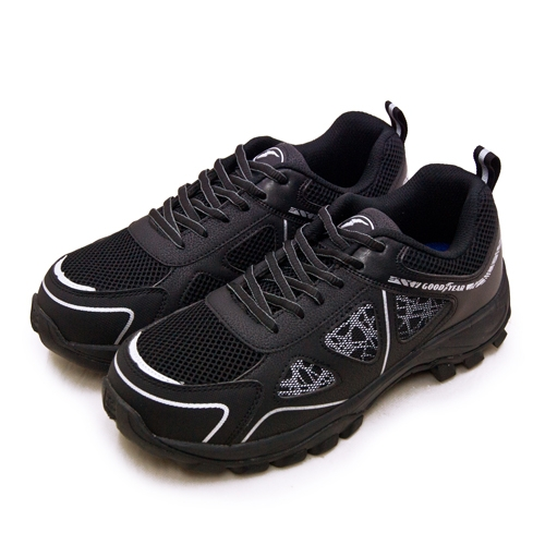 LIKA夢 GOODYEAR 固特異 透氣鋼頭防護認證安全工作鞋 極光系列 黑銀 03960 男