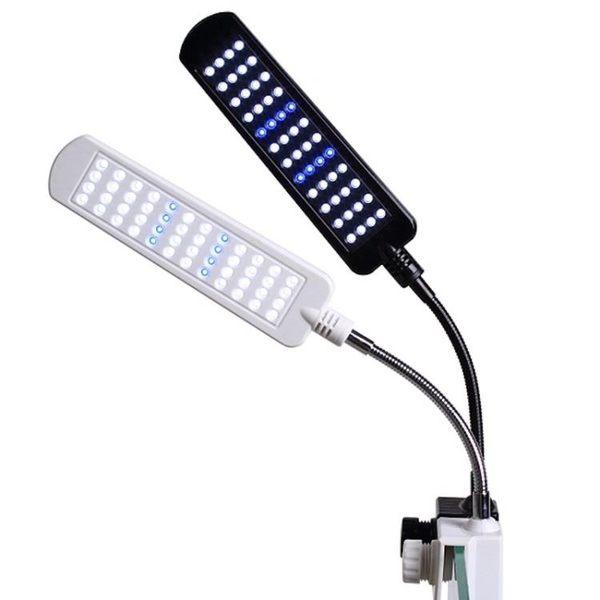 魚缸夾燈 燈管魚缸水族箱單邊插兩針T8雙排led燈管水草燈管藍光白紅光