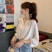 短袖襯衫女復古韓版宮廷風寬松泡泡袖上衣【繁星小鎮】