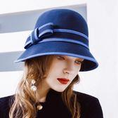 盆帽-時尚拼色蝴蝶結優雅女羊毛呢帽2色73tk9[巴黎精品]