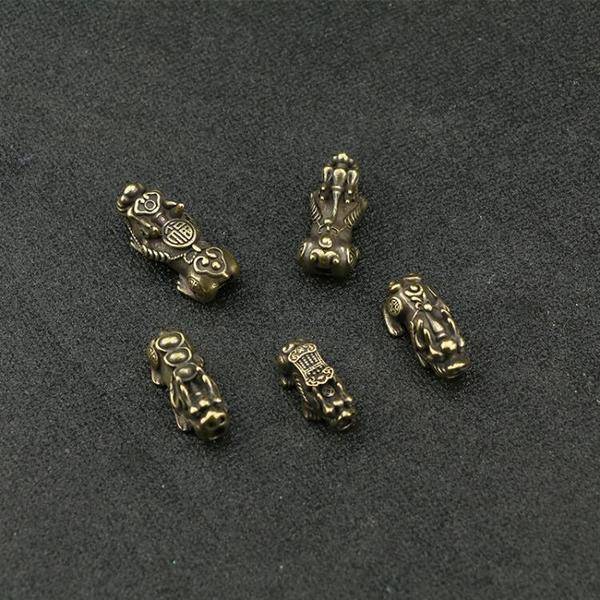 復古做舊純黃銅瑞獸金錢貔貅招財納福DIY紅繩手串手鏈隔珠配件