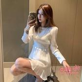 夜店洋裝 裙子仙女2020初秋季新款秋冬時尚氣質白色長袖連身裙夜店性感女裝 S-M