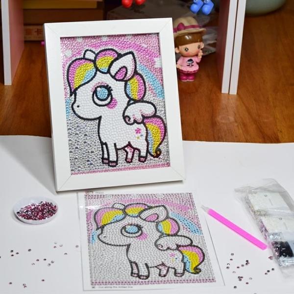 兒童鑽石貼畫手工diy制作7-10兒童節幼兒園女孩益智卡通滿鑽禮物