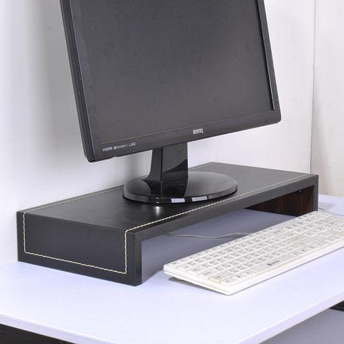 ☆嘉事美☆馬鞍皮面桌上置物架/螢幕架(黑色) 辦公椅 電腦桌 茶几 穿衣鏡 穿鞋椅