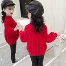 甜美長袖女孩韓版毛衣 百搭上衣女寶寶毛衣 燈籠袖潮流秋冬女童打底衫 洋氣休閒女中大童針織衫