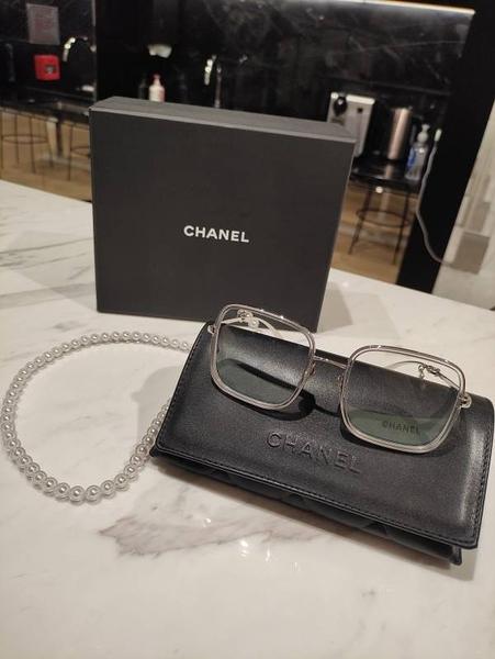 ■專櫃83折■全新真品 ■Chanel Oversized 超大方框 太陽眼鏡配珍珠鍊 -C9