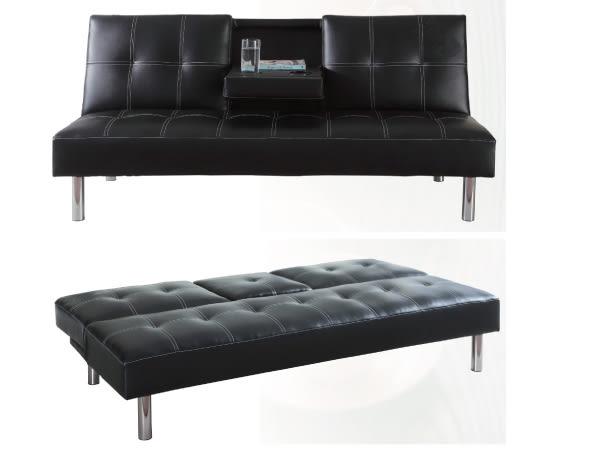 沙發床【YUDA 】巴黎 黑 皮面 三段式 多功能沙發床 床尾沙發 (J8F 204-1) 新竹以北免運費