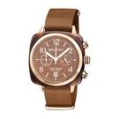 BRISTON CLUBMASTER 經典雙眼計時腕錶-玫瑰金框X焦糖色