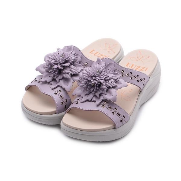LUZZI 牛皮鑽花厚底涼鞋 淺紫 女鞋
