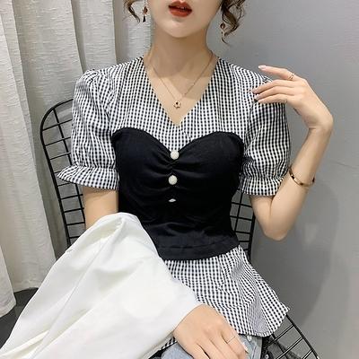 短袖小衫韓版收腰顯瘦荷葉邊裙擺喇叭袖v領襯衫夏季上衣女HF222快時尚