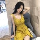 無袖洋裝 2021夏季新款韓版復古V領荷葉邊法式波點顯瘦無袖吊帶洋【全館免運】