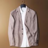 棉麻西服男夏季亞麻西裝薄外套便裝小西裝 居享優品