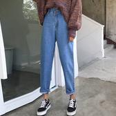 牛仔褲秋裝女裝正韓bf原宿風寬鬆不規則牛仔褲高腰直筒褲