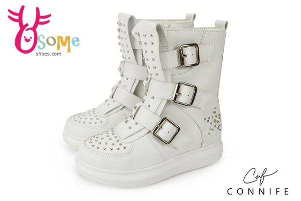 童休閒靴 柳丁靴 側邊拉鍊 CONNIFE 中性靴 運動靴M8022#白◆OSOME奧森鞋業