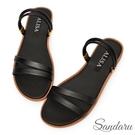 拖鞋 四條線二穿軟皮革平底涼鞋-黑...