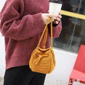 秋冬毛線針織包包可愛收納袋斜跨/手拎/單肩水桶包棉線編織女包包 七色堇