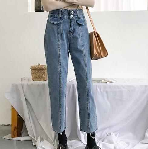 EASON SHOP(GU6937)復古洗水丹寧做舊前假口袋毛邊抽鬚流蘇撕邊牛仔褲女高腰顯瘦長褲九分直筒哈倫褲