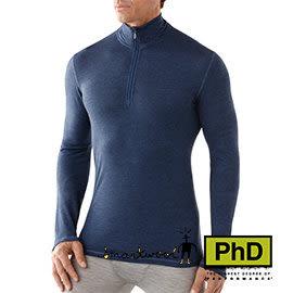 Smartwool 美國 MEN''S NTS MICRO 150 ZIP T 薄高拉長袖排汗衣 藍 男款 SL729