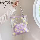 大容量透明包包新款潮夏質感果凍手提包女包果凍洋氣單肩包【全館免運】