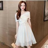 洋裝 夏裝2021新款收腰顯瘦一字領洋裝女交叉褶皺拼接雪紡仙女裙子潮