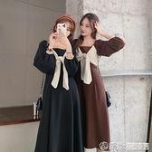 法式復古長袖收腰顯瘦洋裝女早秋設計感減齡高腰長裙潮