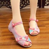 老北京布鞋女夏季坡跟低跟魚嘴媽媽繡花涼鞋 LQ4462『小美日記』
