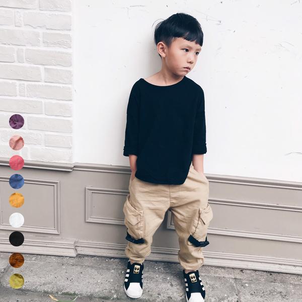 中性款圓弧下擺竹節棉寬鬆長袖上衣 薄長袖 秋裝 男童 女童 橘魔法 現貨 兒童 童裝 童 中童