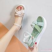平底涼鞋女仙女風2020新款夏女士百搭潮松糕厚底學生鞋沙灘鞋 LF3900【Rose中大尺碼】