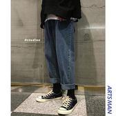 港風寬鬆復古男士牛仔褲秋冬韓版潮流個性 歐亞時尚