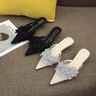 夏季新款拖鞋女夏時尚外穿細跟中跟尖頭V口亮片高跟拖鞋涼拖308-1