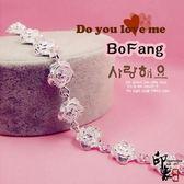 韓國流行飾品鍍925純銀手鏈 玫瑰花百搭手鏈女時尚手環飾品禮物【館長推薦】