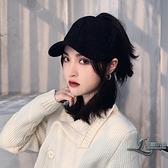 女生鴨舌帽針織毛線帽時尚百搭保暖棒球帽子【邻家小鎮】