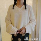 秋季女裝韓版學院風V領套頭毛衣寬鬆純色復古加厚長袖針織衫上衣 莫妮卡小屋