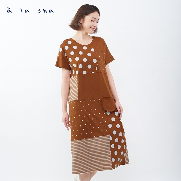 a la sha 大點小點條紋拼接長洋裝
