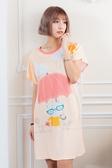 Young Curves 短袖連身睡衣(C01-100715貓咪愛撐傘)