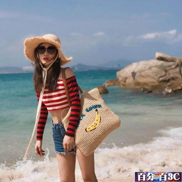 草編包 大容量韓版度假風香蕉包包沙灘包單肩女包草包編織包大包包 百分百