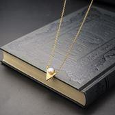 項鍊 純銀鍍18K珍珠吊墜-精緻小巧生日聖誕節禮物女飾品73hi104【時尚巴黎】