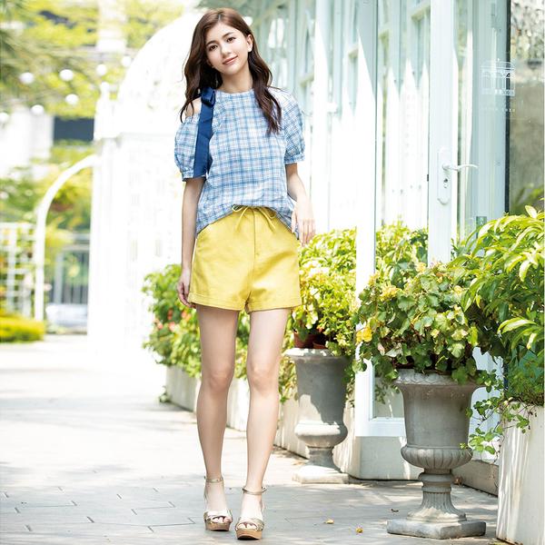 春夏下殺↘5折[H2O]前綁帶設計顯瘦牛仔短褲 - 黃/白/淺藍色 #0688007