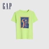 Gap男童 純棉創意印花T恤 685558-黃綠色