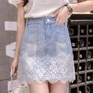 VK精品服飾 韓國風蕾絲花邊拼接半身裙包...