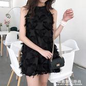 復古韓國chic風氣質女人味流蘇毛毛背心裙子氣質純色無袖連身裙潮