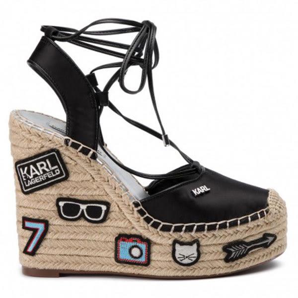 Karl Lagerfeld 卡爾 老佛爺 鞋 KAMINI補丁楔型草編鞋-黑