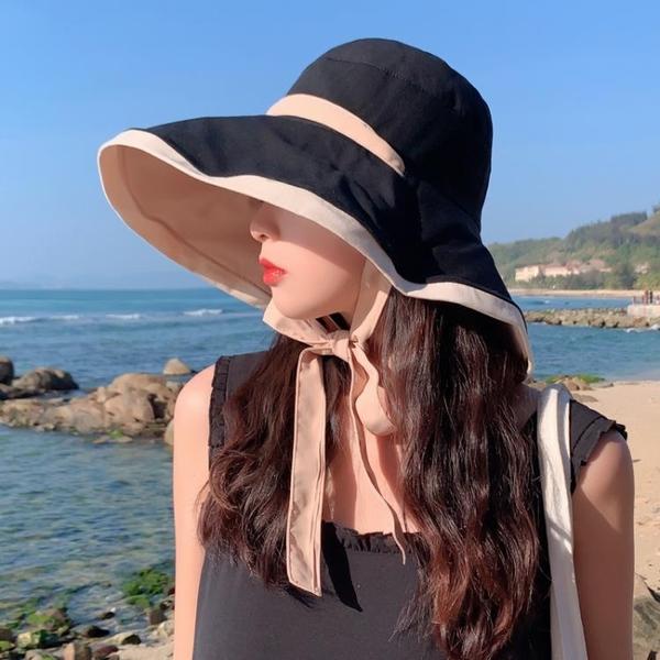 漁夫帽女夏遮臉防紫外線遮陽帽大帽檐適合圓臉雙面大沿防曬太陽帽 西城故事
