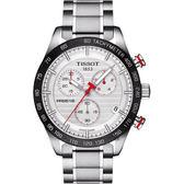 TISSOT 天梭 PRS516 三眼計時石英手錶-銀x黑框/42mm T1004171103100